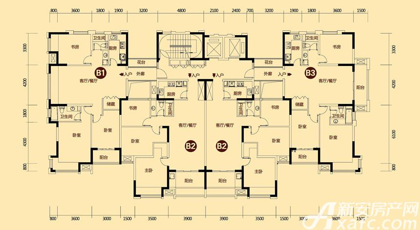 巢湖恒大帝景15-16#3室2厅100.1平米
