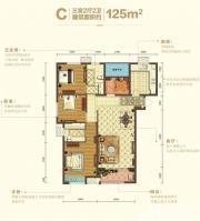 宝能城C地块C户型3室2厅125㎡