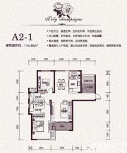 保利香槟国际A2-1户型3室2厅114.85㎡