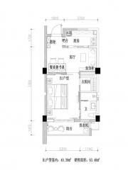 黄山圣天地B1户型1室1厅64㎡