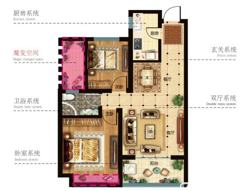 和顺名都城A户型2室2厅83.88平米