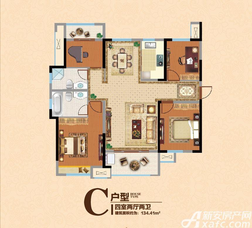 宿州万达广场C4室2厅134.41平米