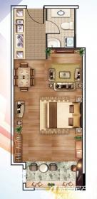 南翔城市广场1#B1室1厅58.4㎡