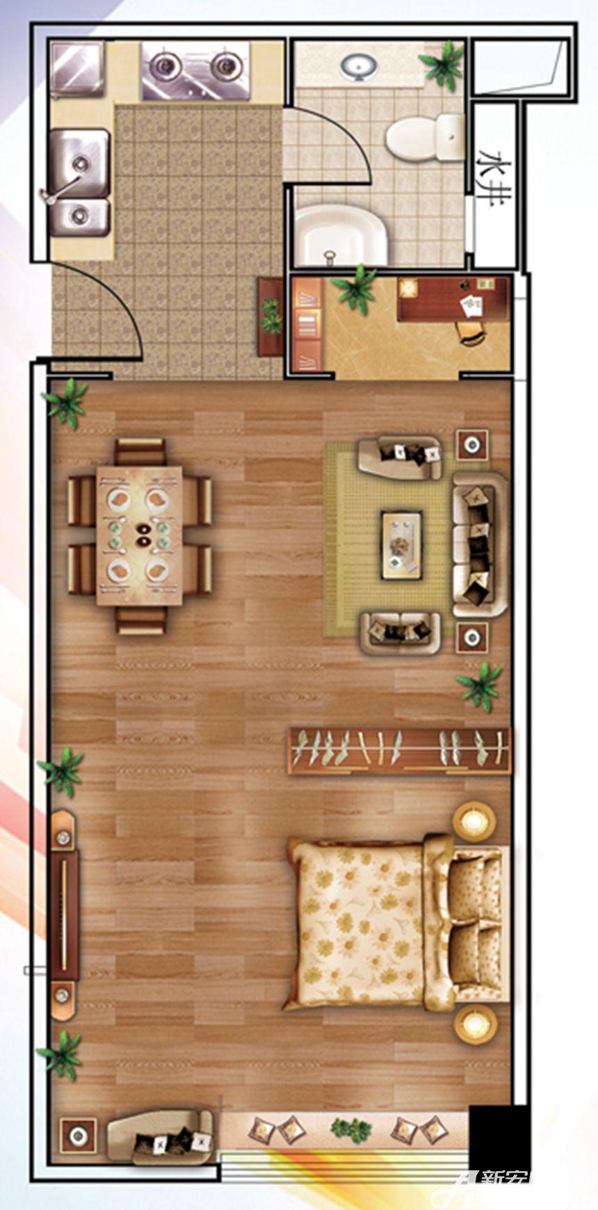 南翔城市广场1#C1室1厅72.23平米