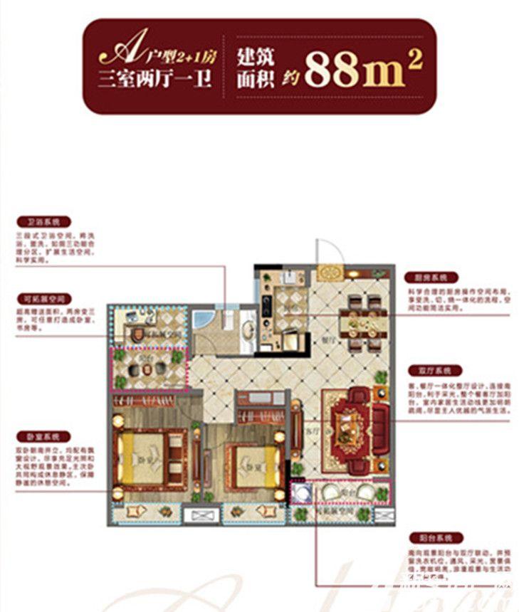 汉华金域中央A户型3室2厅88平米