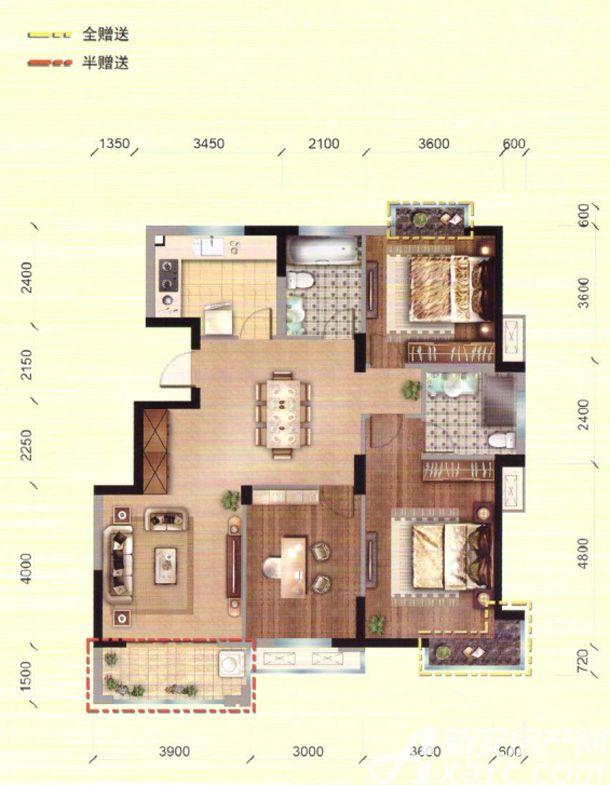 馨领域G1户型3室2厅126.54平米