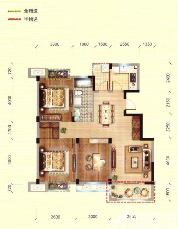 馨领域G2户型3室2厅115.86平米