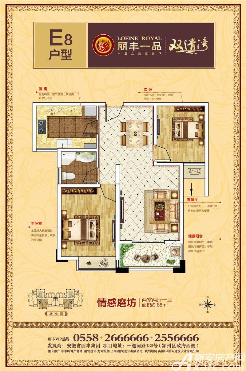丽丰一品E82室2厅88平米