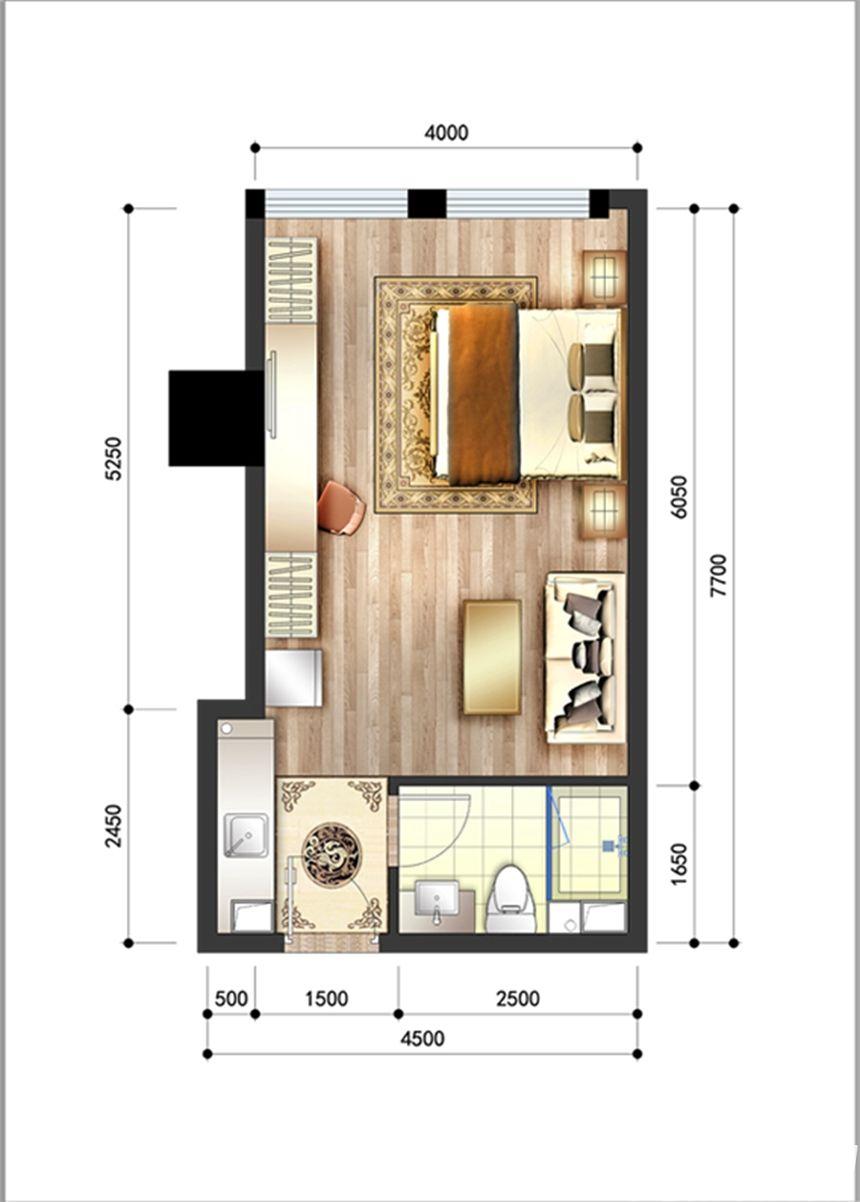 呈泰双子座A11室1厅43.73平米