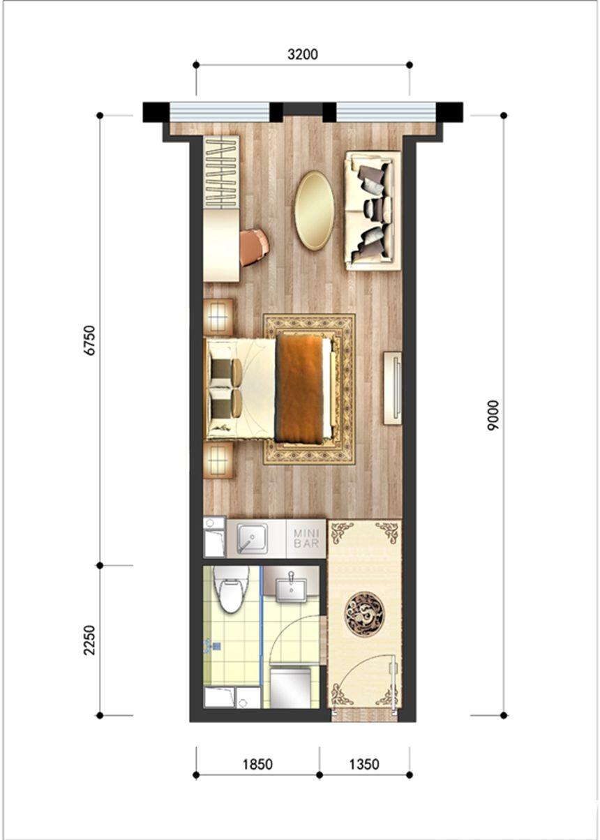 呈泰双子座A21室1厅39.33平米
