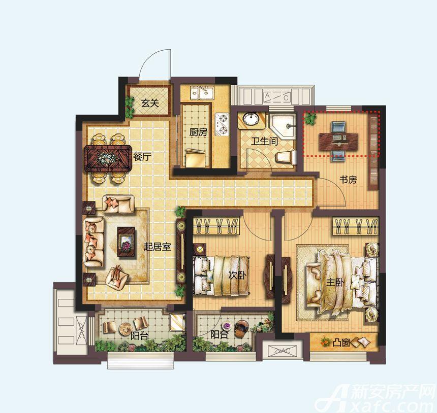 信达天御A1户型3室2厅89平米
