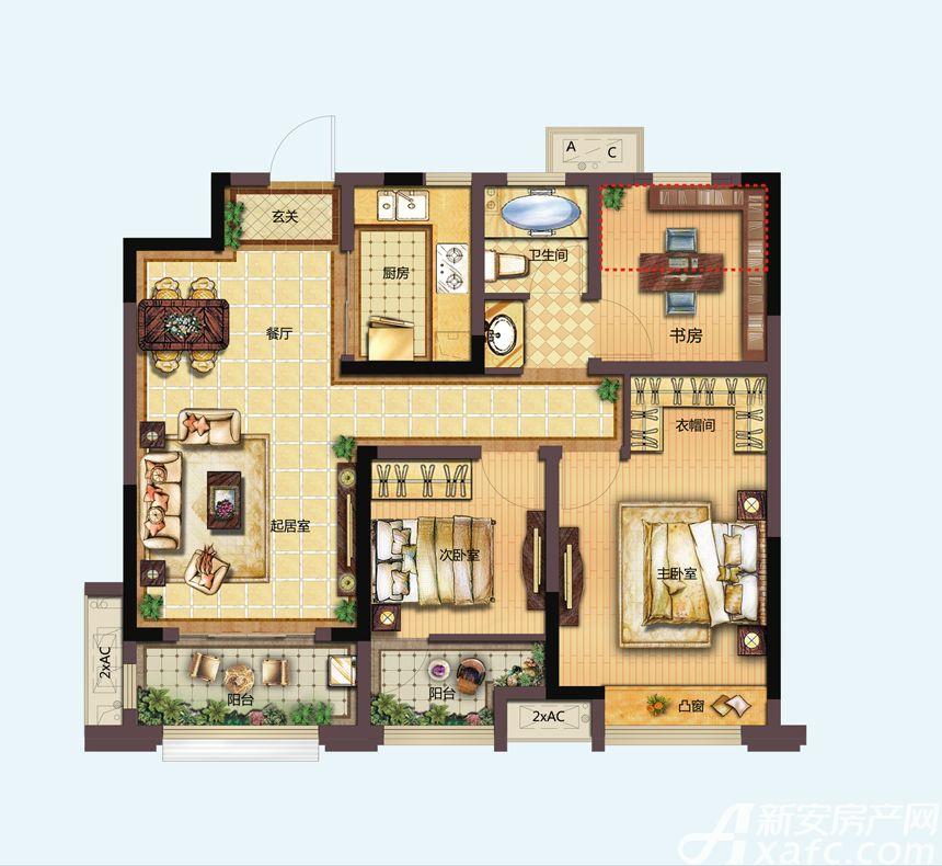 信达天御B1户型3室2厅96平米