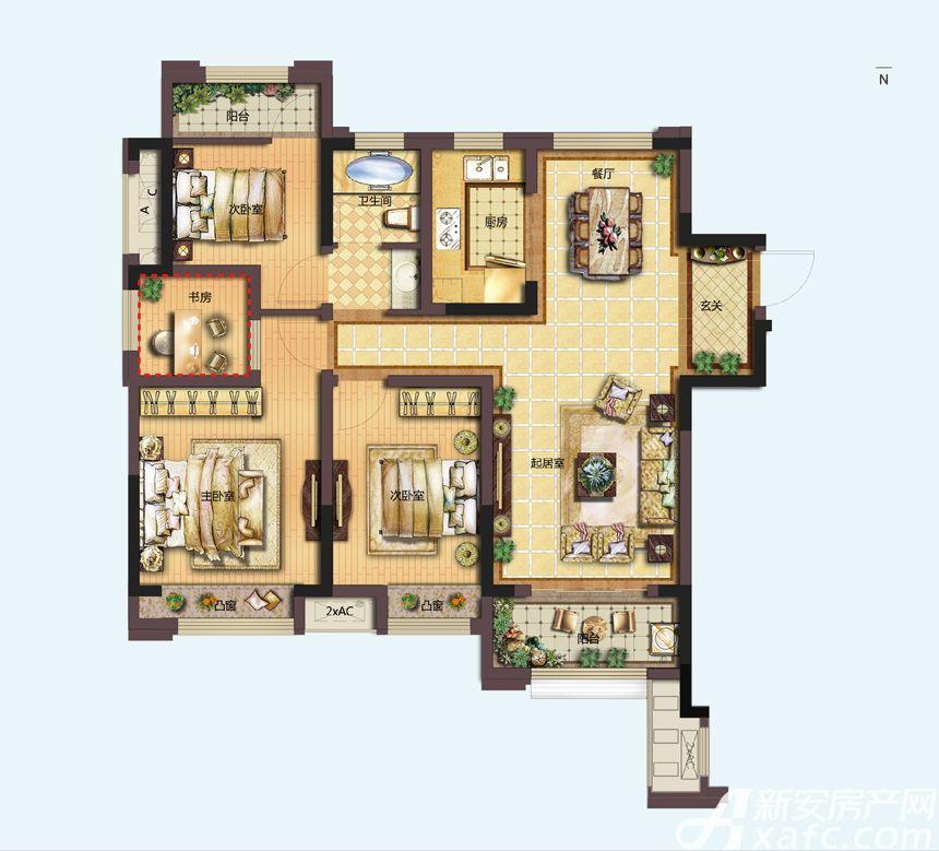 信达天御C1户型3室2厅108平米