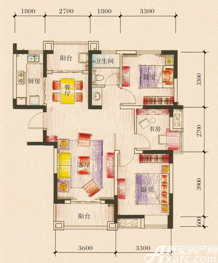 新加坡花园城18#楼01户型3室2厅101.86平米