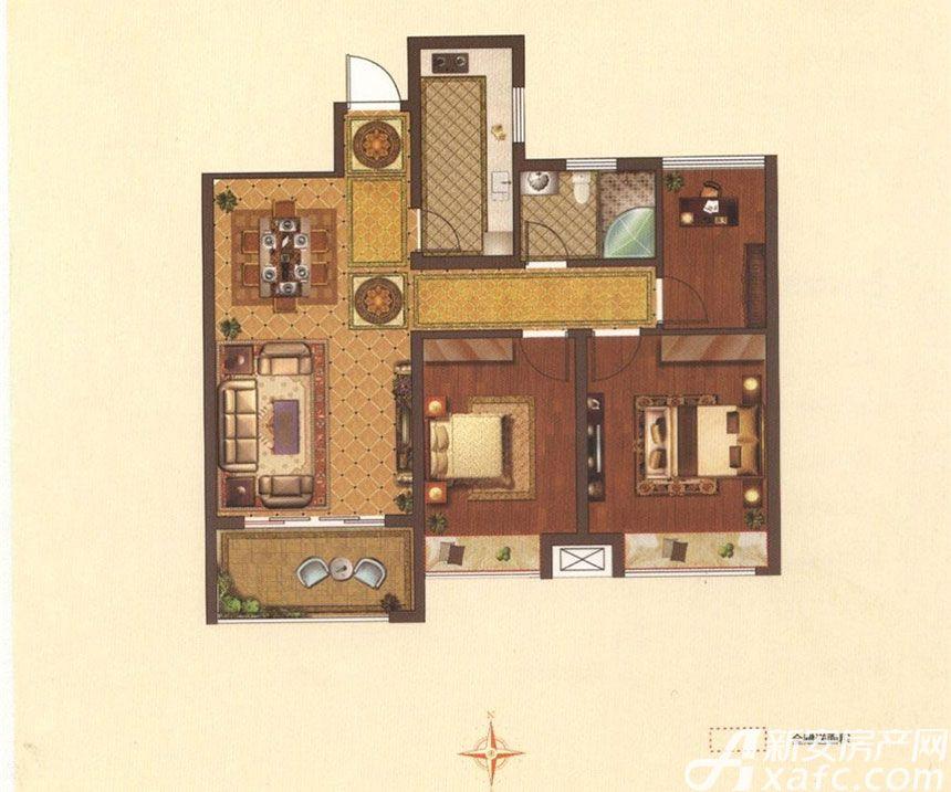 星光国际广场C户型3室2厅100平米