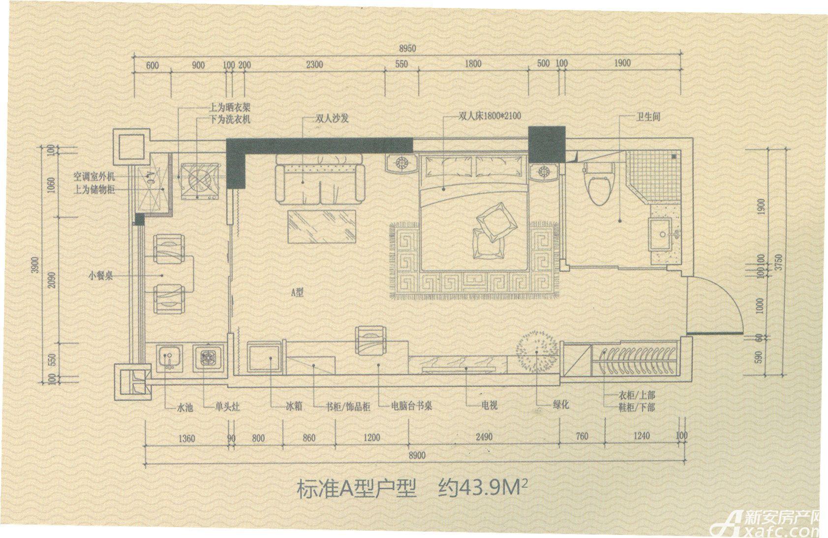 恒玖金山广场恒玖金山广场2号楼A户型1室1厅43.9平米
