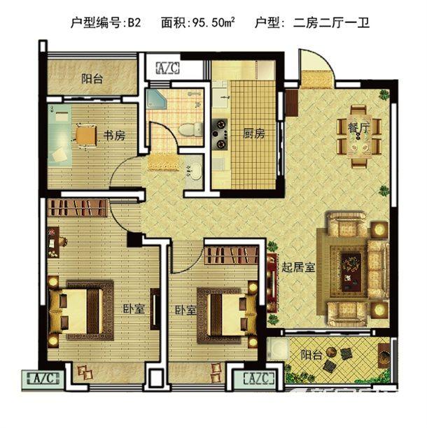 皖投天下名筑B22室2厅95.5平米