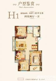 方阵·中央城H1户型4室2厅97.83㎡