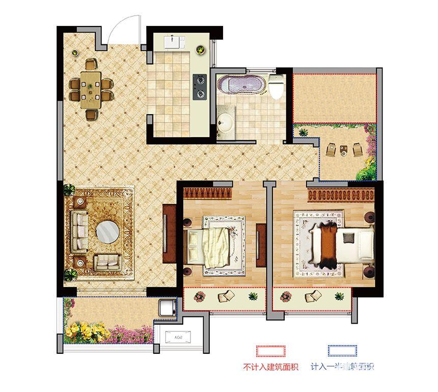 长安东郡B户型2室2厅87.73平米