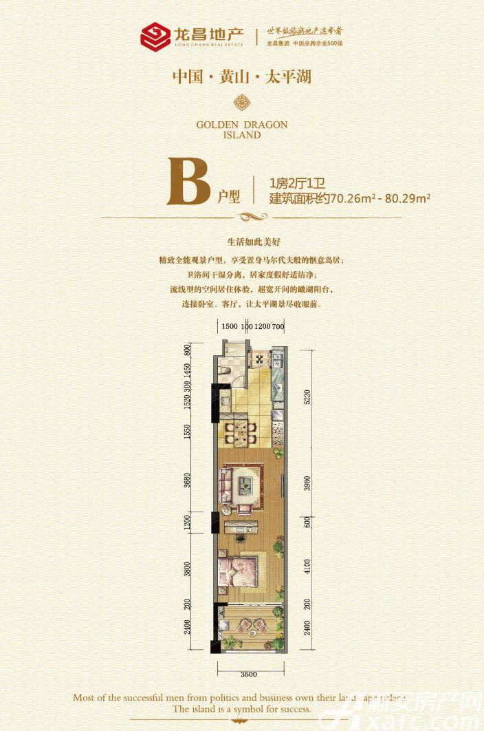 太平湖金龙岛B1室2厅80.29平米