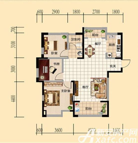 和顺新天地三室户型3室2厅106平米