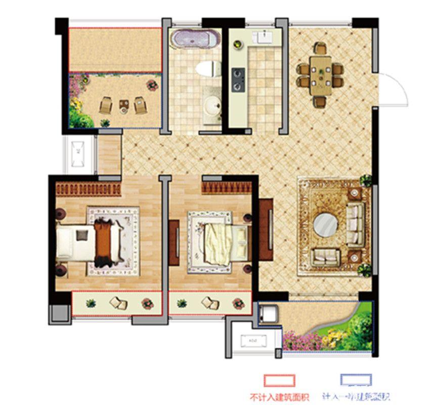 长安东郡C户型2室2厅95.45平米