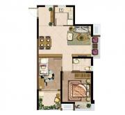 深业华府A1户型 2室2厅1卫2室2厅72.85㎡