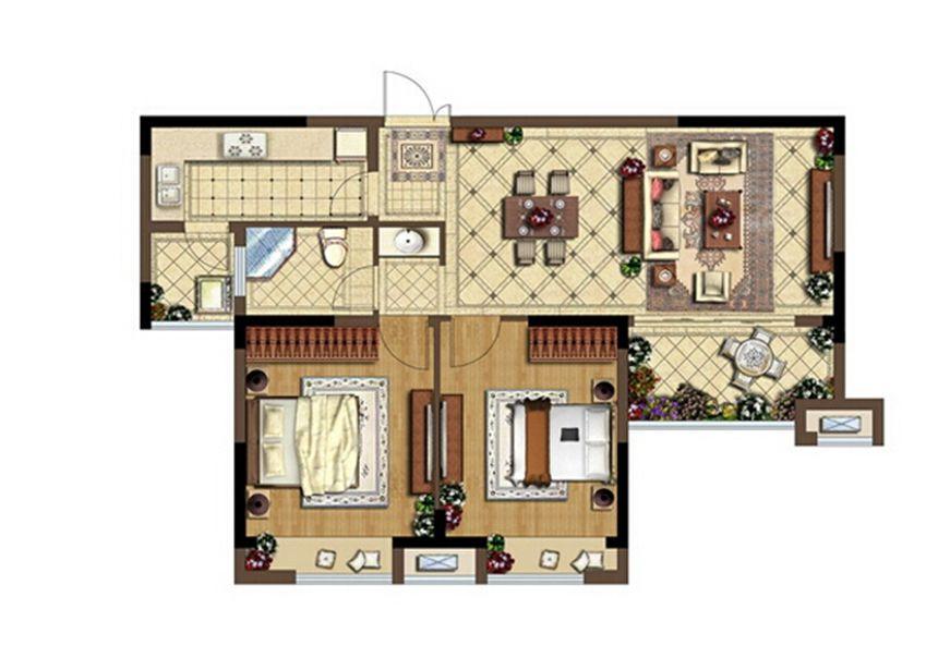 深业华府A2户型 2室2厅1卫2室2厅97平米