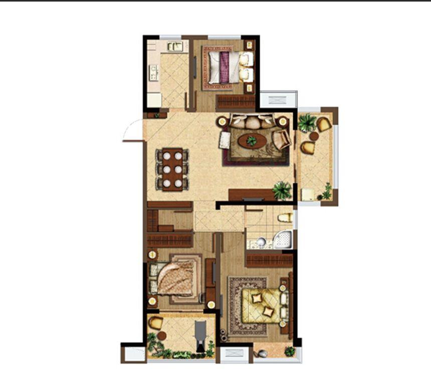 深业华府C3户型 3室2厅1卫3室2厅113.67平米
