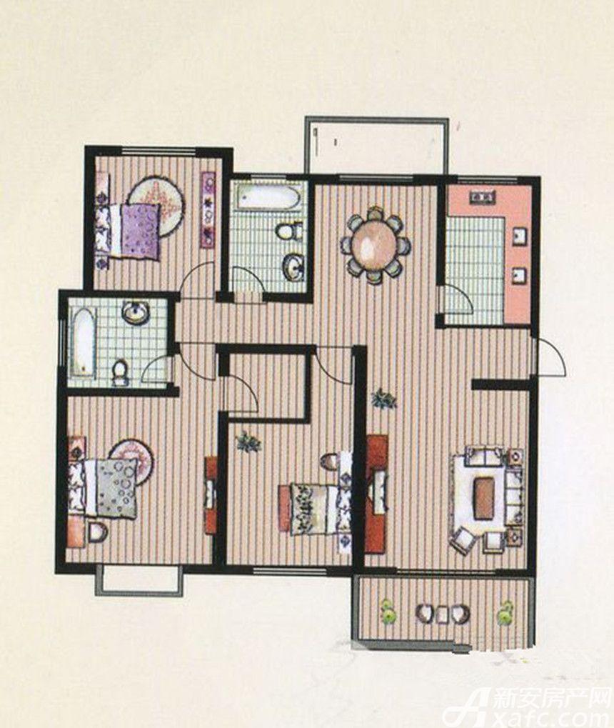 京都公馆E户型 3室2厅2卫3室2厅136.9平米