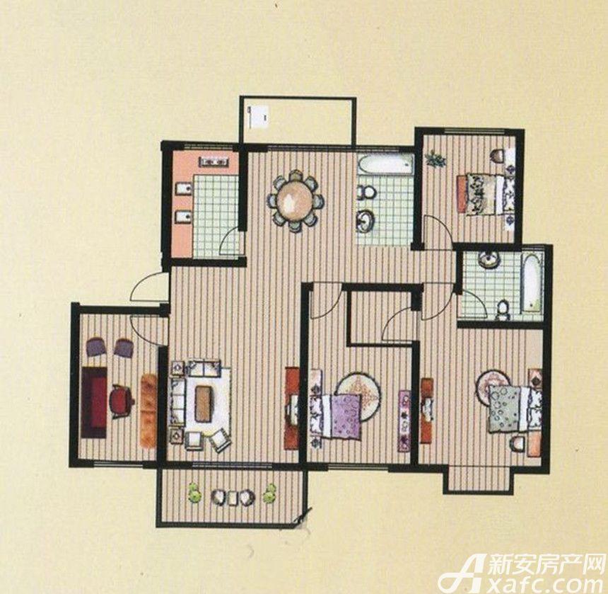 京都公馆F户型4室2厅2卫4室2厅150.3平米