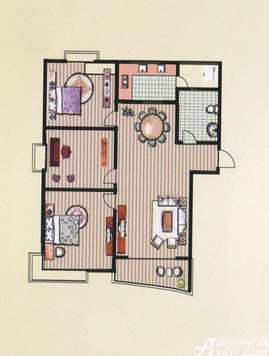 京都公馆G户型 3室2厅1卫3室2厅117.1平米