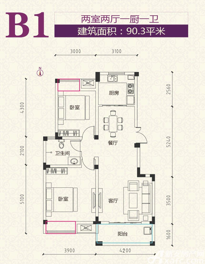 安粮学府花园B1户型2室2厅90.3平米