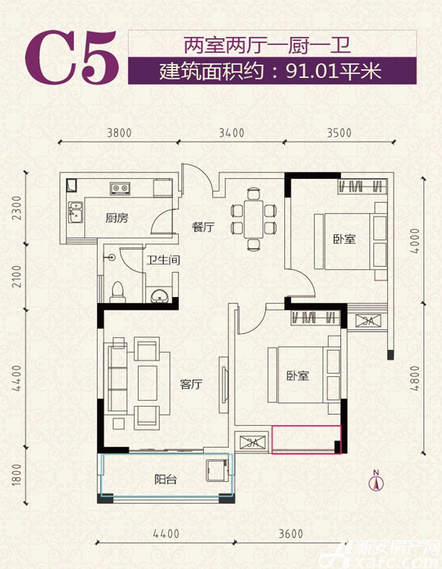 安粮学府花园C5户型2室2厅91.01平米