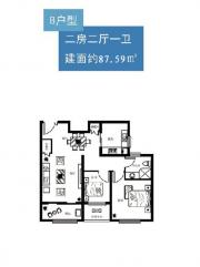 博文城市广场B户型2室2厅87.59㎡