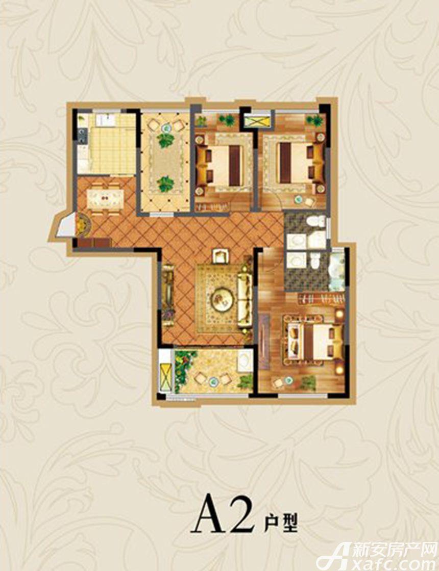 虎山一号A2户型3室2厅120平米