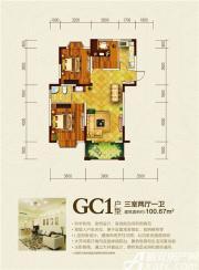 嘉泰龙城壹号GC1户型3室2厅100.67㎡