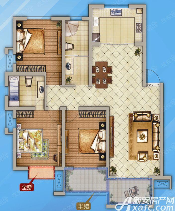 和泰国际城F3室2厅124.77平米