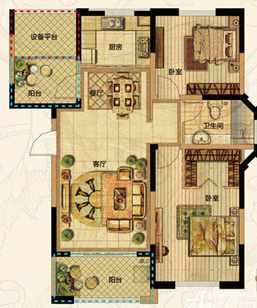 高速云水湾E1户型3室1厅107平米