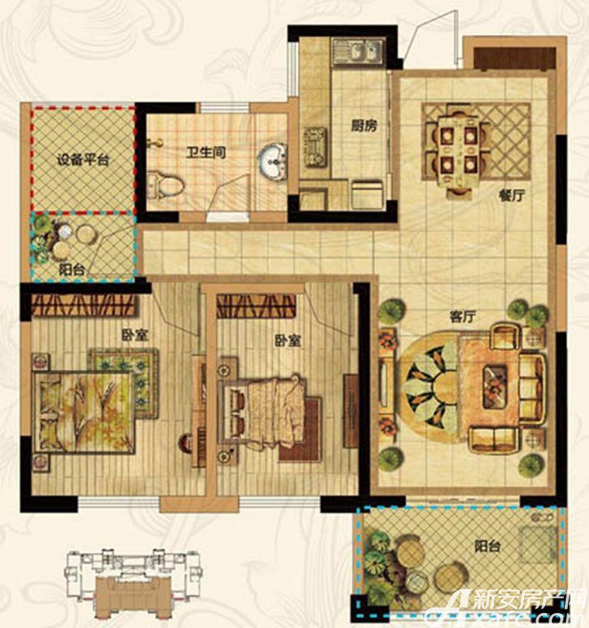 高速云水湾E2户型3室1厅97平米
