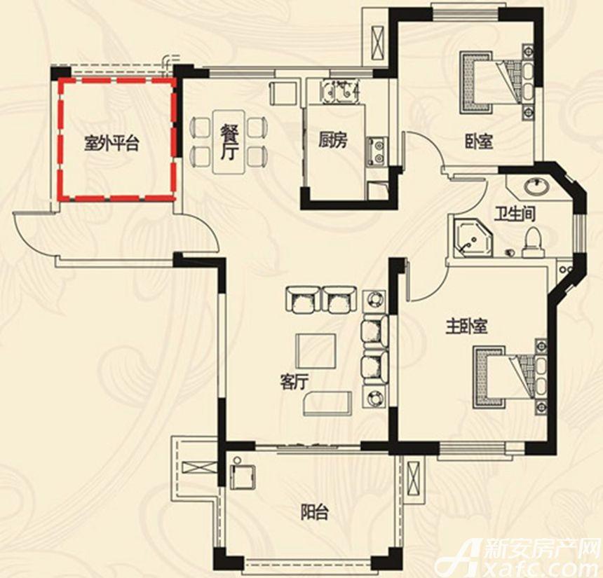 高速云水湾HA户型3室1厅104平米