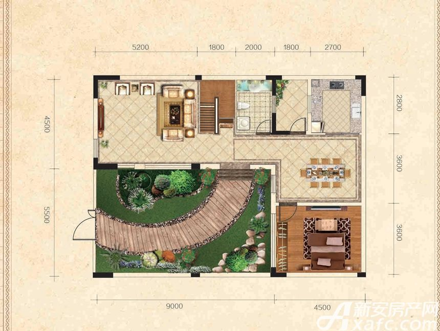高速云水湾B户型1层1室1厅85平米