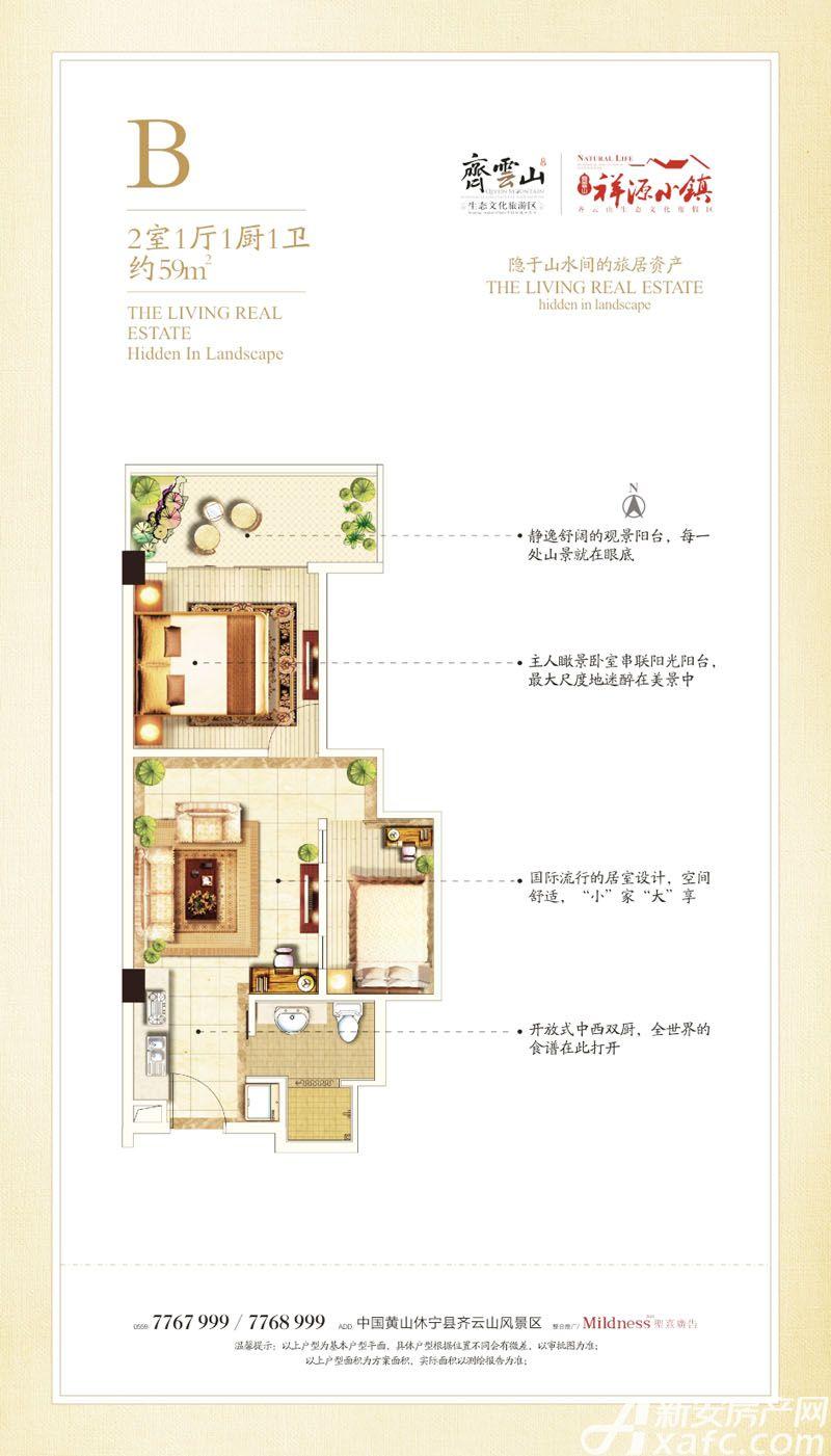 祥源齐云小镇B2室1厅59平米