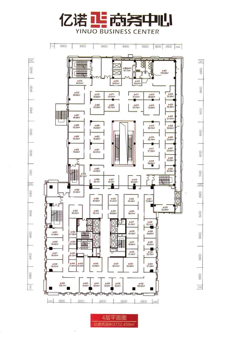 亿诺商务中心4层平面图