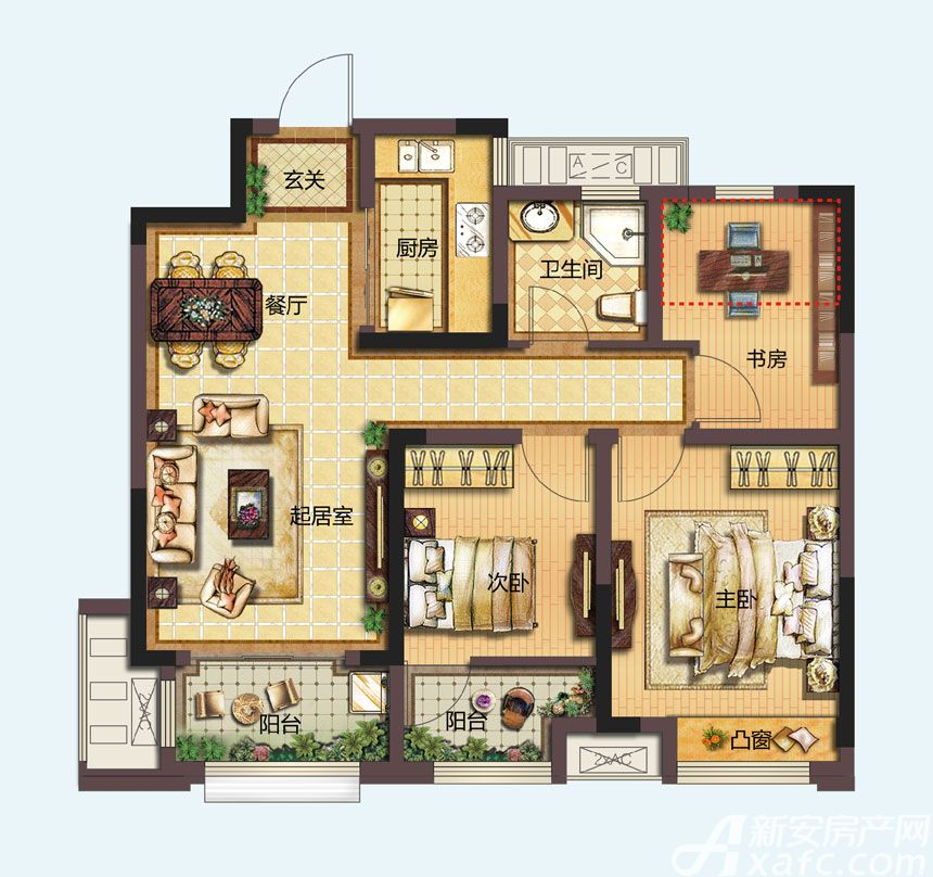 信达天御城市公馆A1户型3室2厅89平米
