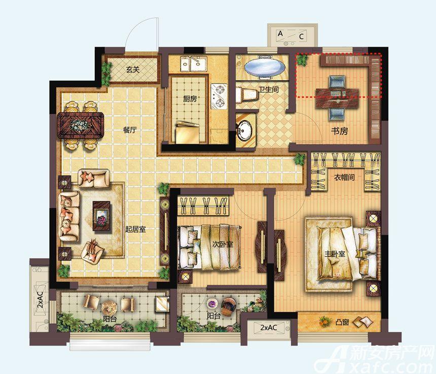 信达天御城市公馆B1户型3室2厅96平米