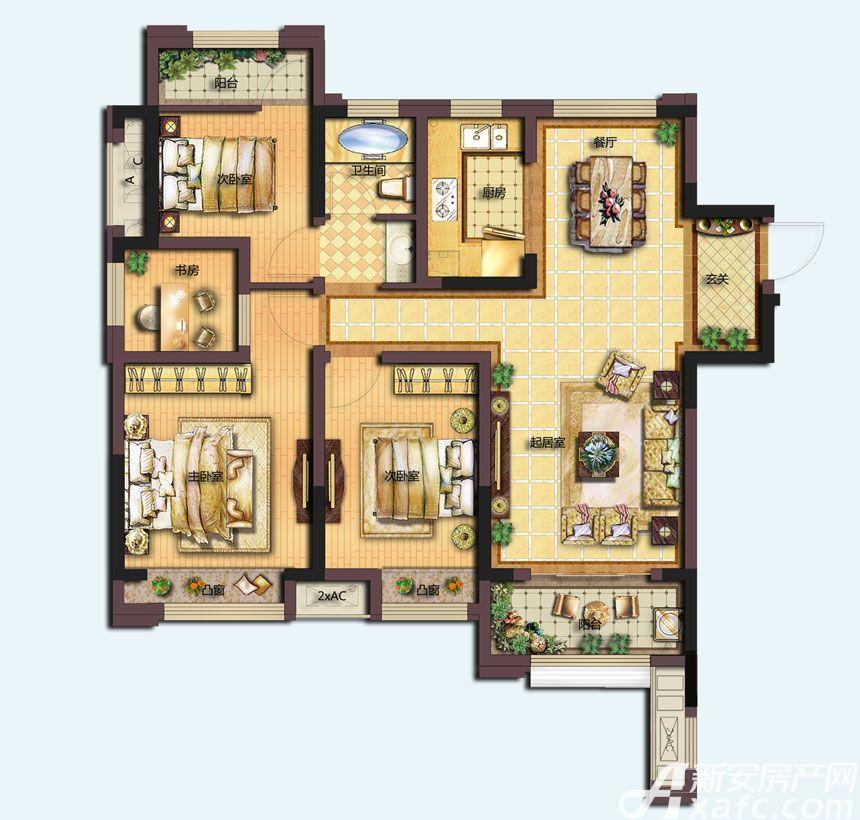 信达天御城市公馆C1户型4室2厅108平米
