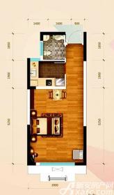 华邦观筑里E1户型1室2厅41㎡