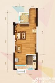 华邦观筑里E3户型1室2厅44㎡