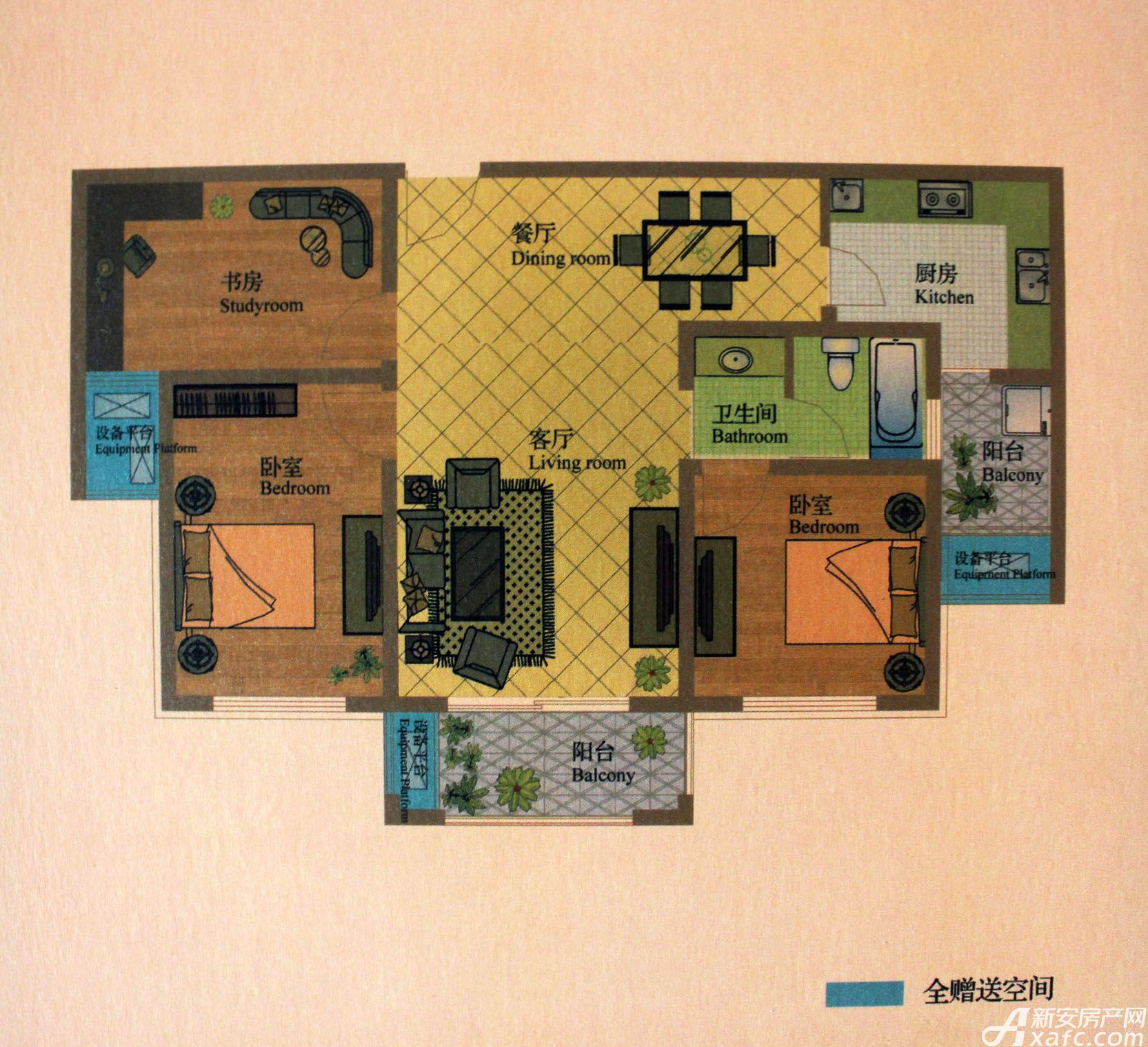 盛世龙城高层B23室2厅104平米